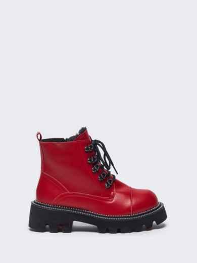 Зимние ботинки на массивной подошве красные 51808, фото 5