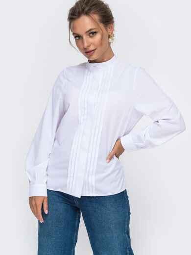 Белая блузка с воротником-стойкой 49922, фото 1
