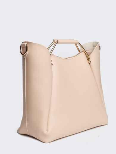 Бежевая сумка-тоут с металлическими ручками - 21463, фото 3 – интернет-магазин Dressa