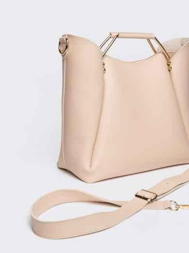 Бежевая сумка-тоут с металлическими ручками - 21463, фото 4 – интернет-магазин Dressa