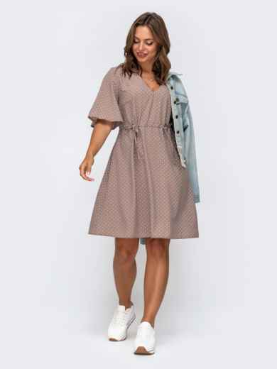Бежевое платье в горох с кулисками по талии 49923, фото 1