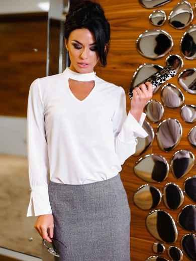 Блузка с имитацией чокера и рукавом 3/4 - 10228, фото 4 – интернет-магазин Dressa