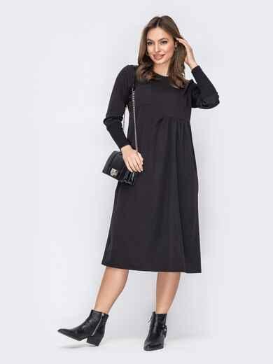 Черное платье-трапеция ниже колен 53565, фото 1