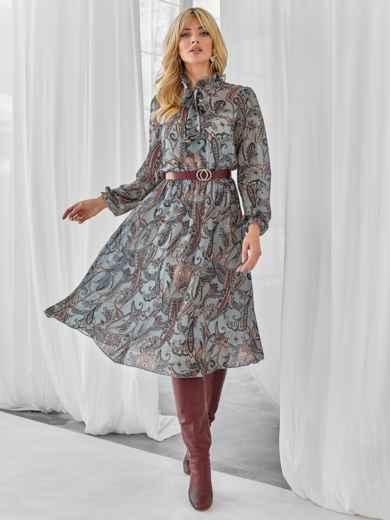 Серое платье с принтом и воротником-аскот 49927, фото 1