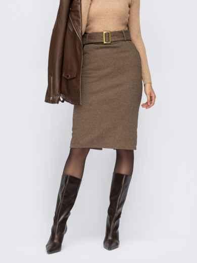 Коричневая юбка-карандаш из жаккарда 55282, фото 1