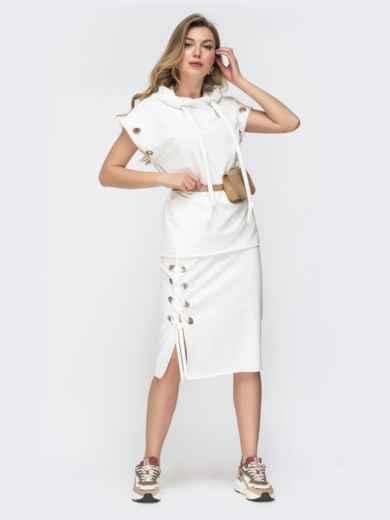 Комплект и кофты с капюшоном и юбки белый 45794, фото 1