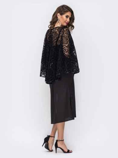 Комплект из платья и гипюровой накидки чёрный 42673, фото 3