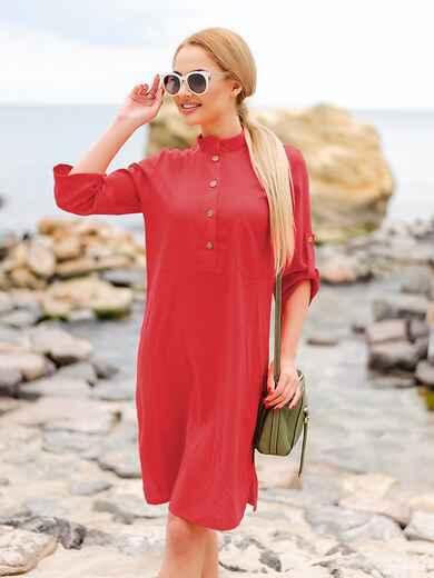 Красное льняное платье-рубашка прямого кроя с пуговицами 49737, фото 1