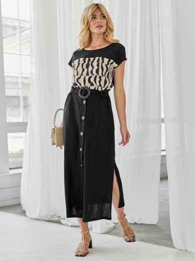 Льняной комплект из блузки с принтом и юбки чёрный 49924, фото 2