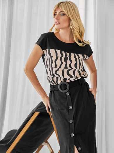 Льняной комплект из блузки с принтом и юбки чёрный 49924, фото 3