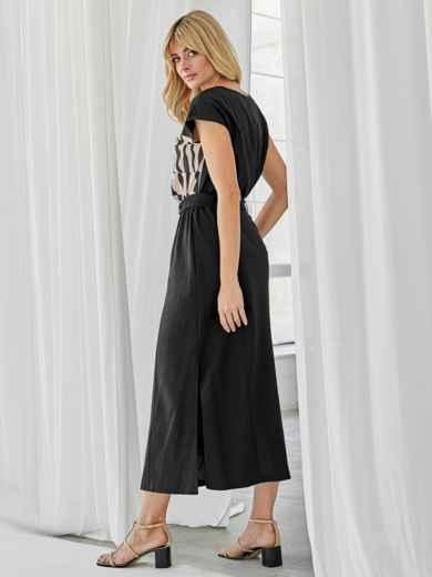 Льняной комплект из блузки с принтом и юбки чёрный 49924, фото 4