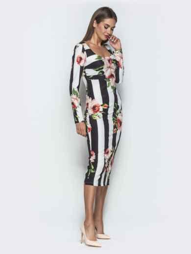 Платье-футляр с принтом и овальным вырезом - 40123, фото 2 – интернет-магазин Dressa