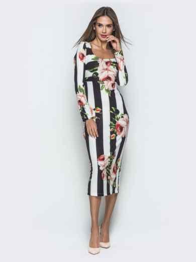 Платье-футляр с принтом и овальным вырезом - 40123, фото 3 – интернет-магазин Dressa