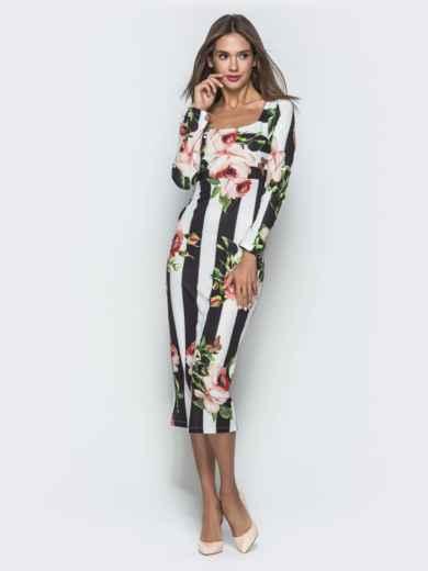 Платье-футляр с принтом и овальным вырезом - 40123, фото 4 – интернет-магазин Dressa