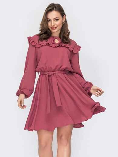 Розовое платье с оборкой вдоль кокетки и юбкой-клеш 53567, фото 1