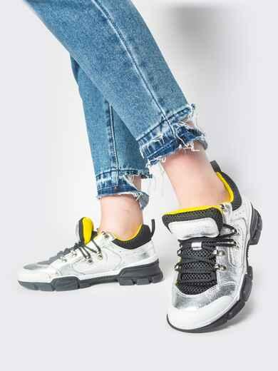 Серебристые кроссовки с контрастной сеткой - 21432, фото 1 – интернет-магазин Dressa
