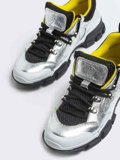 Серебристые кроссовки с контрастной сеткой - 21432, фото 2 – интернет-магазин Dressa