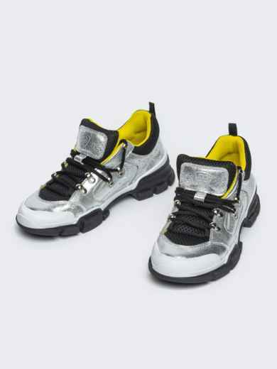 Серебристые кроссовки с контрастной сеткой - 21432, фото 3 – интернет-магазин Dressa