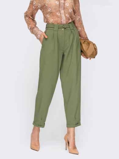 Укороченные брюки-бананы с поясом зелёные 54664, фото 1