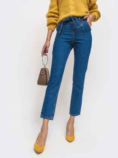 Укороченные джинсы синего цвета с завышенной талией 41915, фото 1