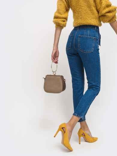 Укороченные джинсы синего цвета с завышенной талией - 41915, фото 2 – интернет-магазин Dressa