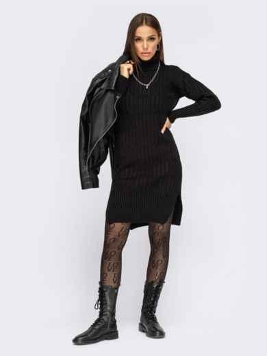 Вязаное платье с воротником и разрезами по бокам чёрное 54946, фото 1