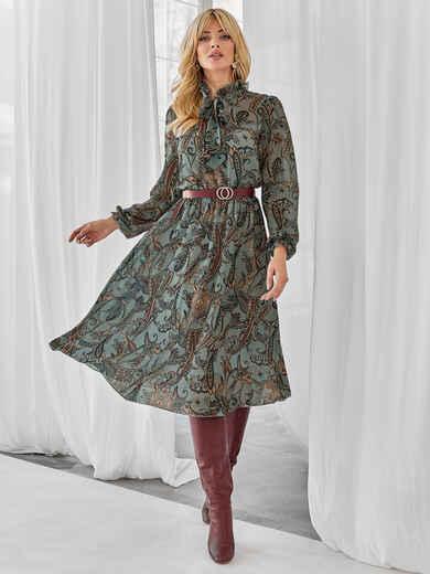 Зеленое платье с принтом и воротником-аскот 49927, фото 1