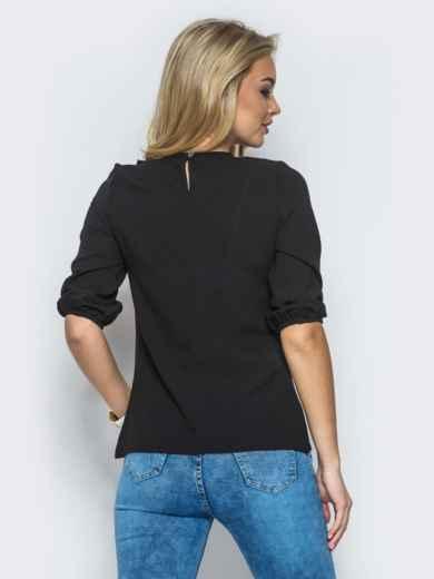 Черная креп-шифоновая блузка со сборкой на полочке - 13294, фото 2 – интернет-магазин Dressa