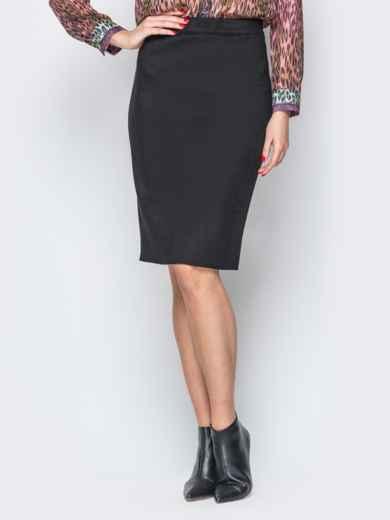 Черная юбка-карандаш из замши на молнии - 19374, фото 1 – интернет-магазин Dressa