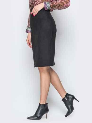 Черная юбка-карандаш из замши на молнии - 19374, фото 2 – интернет-магазин Dressa