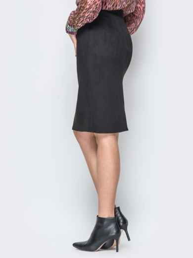 Черная юбка-карандаш из замши на молнии - 19374, фото 3 – интернет-магазин Dressa