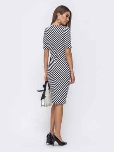 Чёрное платье в полоску с контрастными вставками - 41260, фото 2 – интернет-магазин Dressa