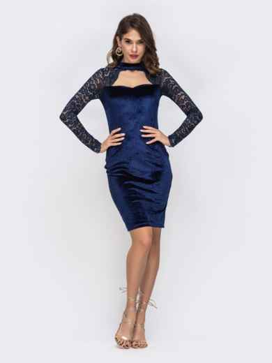 Тёмно-синее платье с фигурным вырезом и рукавами из гипюра 42934, фото 1