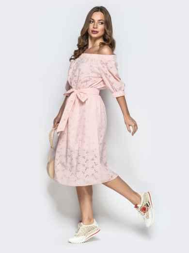 """Фактуроне платье пудрового цвета с рукавом """"фонарик"""" - 22321, фото 2 – интернет-магазин Dressa"""