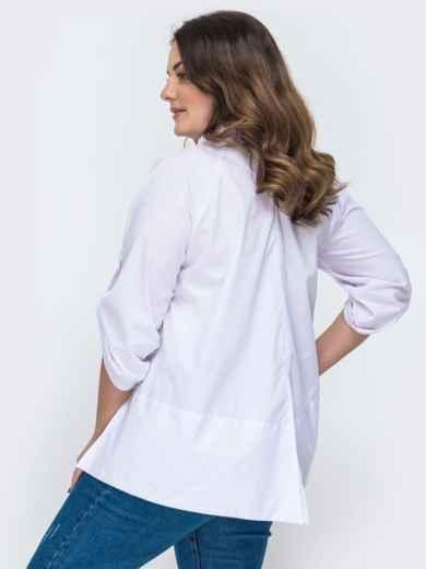 Хлопковая блузка батал с рукавом-реглан белая 45181, фото 2