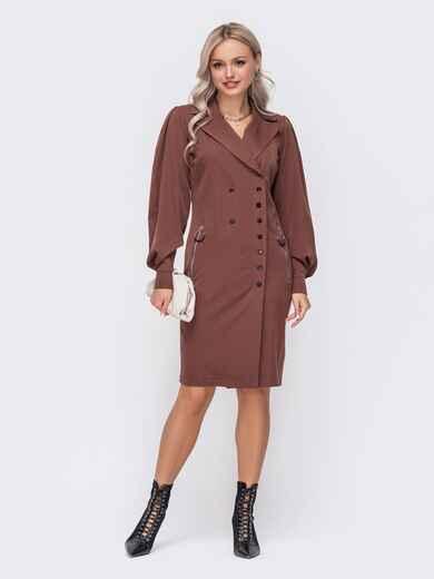 Коричневое платье-пиджак с объемными рукавами 51045, фото 1