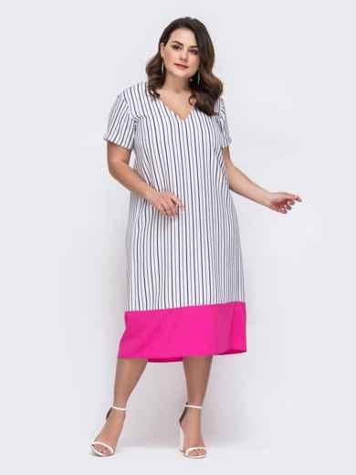Платье большого размера в полоску белое 46360, фото 1
