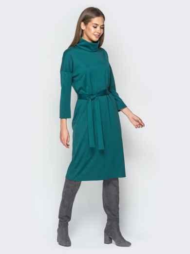 Платье из французского трикотажа с воротником-хомут зелёное - 18276, фото 2 – интернет-магазин Dressa