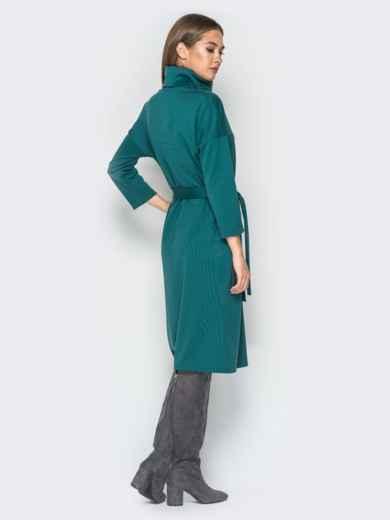 Платье из французского трикотажа с воротником-хомут зелёное - 18276, фото 3 – интернет-магазин Dressa