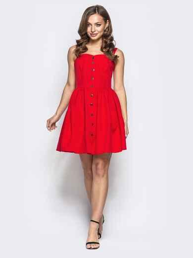 Расклешенное платье на бретелях красное 22224, фото 1