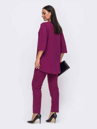 Розовый комплект батал из кофты со вставкой гипюра и брюк 51351, фото 3