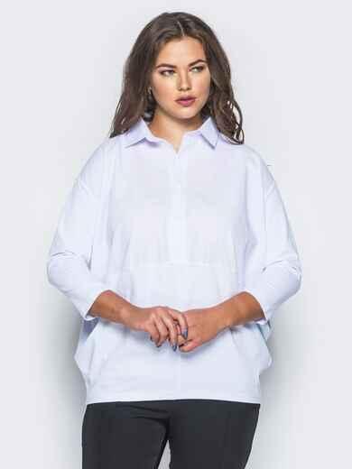Рубашка свободного кроя с низом из вискозы белая 15754, фото 1