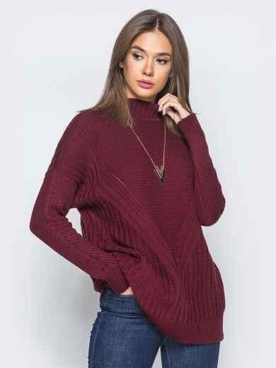Удлиненный бордовый свитер ажурной вязки - 17094, фото 1 – интернет-магазин Dressa