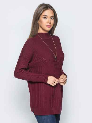 Удлиненный бордовый свитер ажурной вязки - 17094, фото 2 – интернет-магазин Dressa