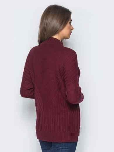 Удлиненный бордовый свитер ажурной вязки - 17094, фото 3 – интернет-магазин Dressa