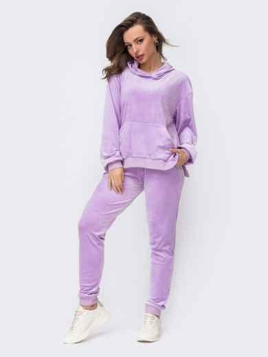 Фиолетовый бархатный костюм из худи и брюк 52946, фото 1