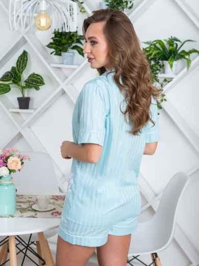 Голубая пижама с нашивкой на топе и шортах - 20450, фото 2 – интернет-магазин Dressa