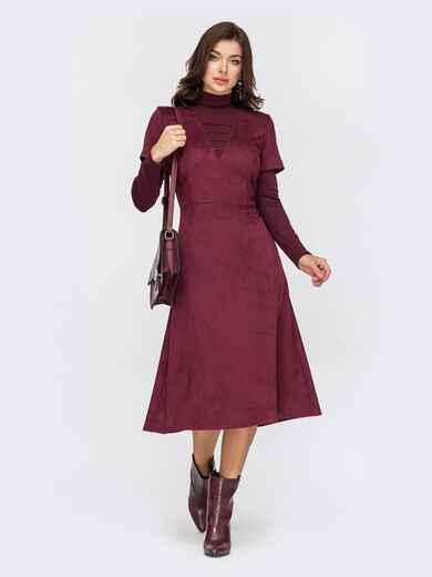 Комбинированное платье из замши с юбкой-трапецией бордовое 51778, фото 1