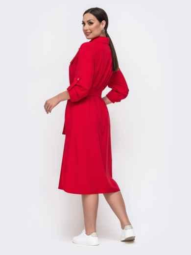 Красное платье-рубашка большого размера со шлевками на рукавах 46396, фото 2