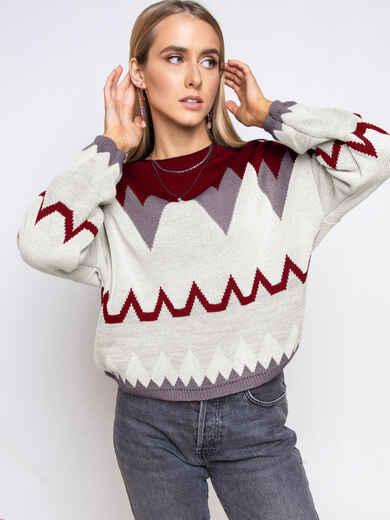 Красный свитер мелкой вязки с геометрическим принтом 52067, фото 1
